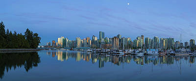Photograph - Vancouver Bc Skyline During Blue Hour Panorama by David Gn