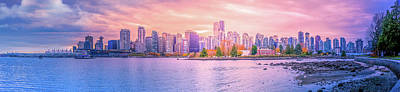 Evening Photograph - Vancouver Bc Skyline From Stanley Park by Art Spectrum
