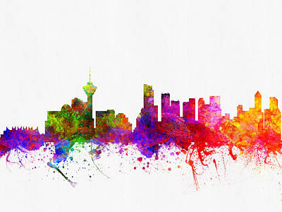 Vancouver Digital Art - Vancouver British Columbia Skyline Color02 by Aged Pixel