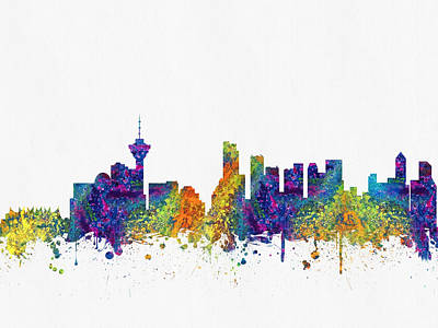 British Columbia Digital Art - Vancouver British Columbia Skyline Color03 by Aged Pixel