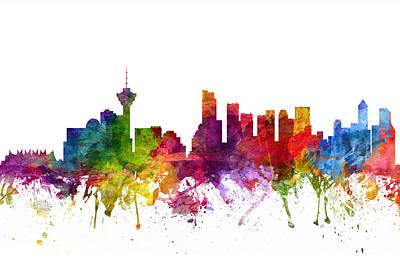 Rainbow Colors Digital Art - Vancouver Canada Cityscape 06 by Aged Pixel
