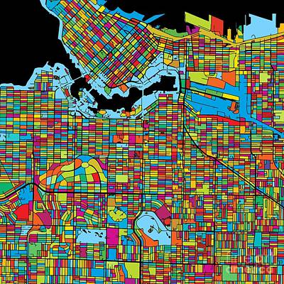 Vancouver Canada, Colorful Map Original