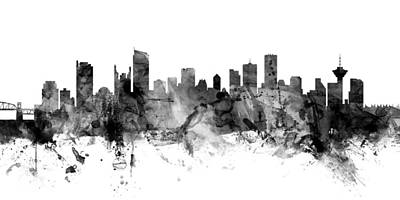 Digital Art - Vancouver Canada Skyline Panoramic by Michael Tompsett