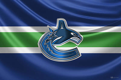 Sports Digital Art - Vancouver Canucks - 3 D Badge Over Silk Flag by Serge Averbukh
