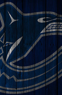 Digital Art - Vancouver Canucks Wood Fence by Joe Hamilton