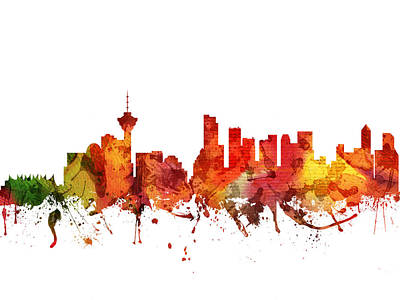 British Columbia Digital Art - Vancouver Cityscape 04 by Aged Pixel