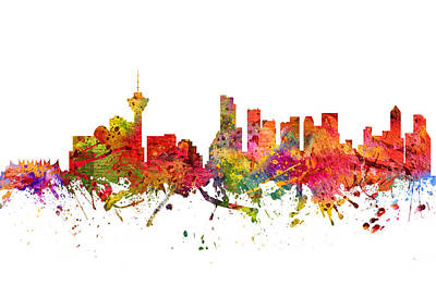 British Columbia Digital Art - Vancouver Cityscape 08 by Aged Pixel