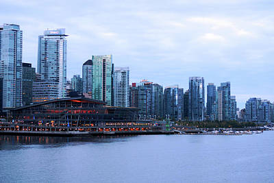Photograph - Vancouver Convention Centre And Skyline At Dawn  by Connie Fox