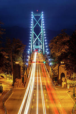 Photograph - Vancouver Lions Gate Bridge At Night by Pierre Leclerc Photography