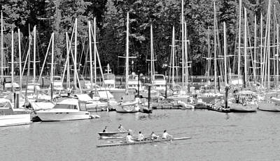 Black And White Photograph - Vancouver Marina No. 1-1 by Sandy Taylor