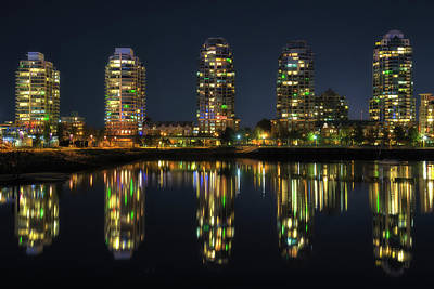 Vancouver Photograph - Vancouver Night Reflections by Chris Fletcher