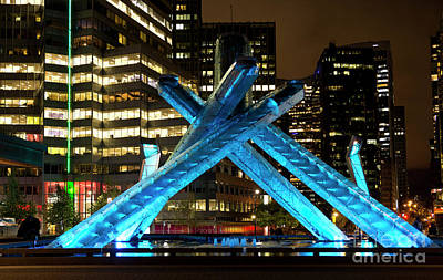 Photograph - Vancouver Olympic Cauldron At Night by Maria Janicki