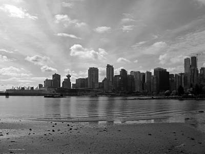 Photograph - Vancouver Skyline 2015 At Stanley Park II Bw by Connie Fox