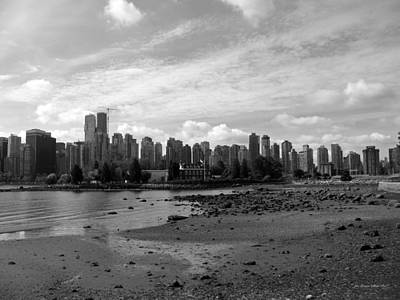 Photograph - Vancouver Skyline 2015 Bw by Connie Fox