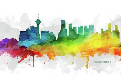 British Digital Art - Vancouver Skyline Mmr-cabcva05 by Aged Pixel