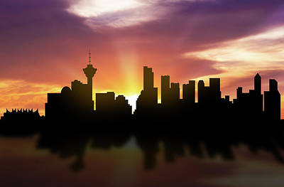 Vancouver Digital Art - Vancouver Skyline Sunset Cabcva22 by Aged Pixel