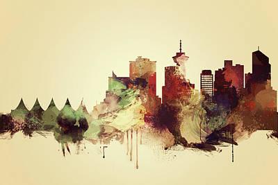 Skyline Painting - Vancouver Vintage Skyline by Dim Dom