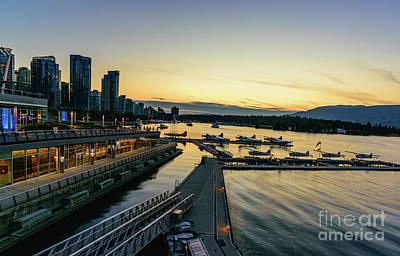 Vancouver Waterfront At Night Art Print by Viktor Birkus