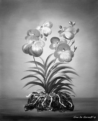 Painting - Vanda Orchids In Black And White by Gina De Gorna