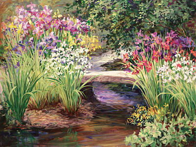 Garden Painting - Vandusen Garden Iris Bridge by Laurie Hein