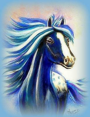 Peruvian Horse Painting - Vanessa Blue by Karen Mask