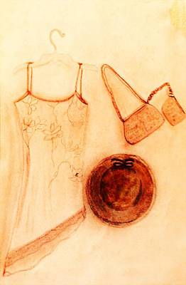 Red Gown Drawing - Vanesse's Gown, Hat And Purse by Debra Lynch