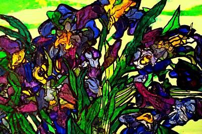 Art Print featuring the painting Vangogh Iris Montage In Focus by Laura  Grisham