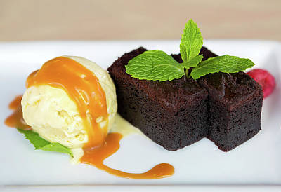 Photograph - Vanilla Ice Cream With Brownie Dessert by Jit Lim