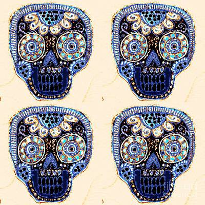 Mixed Media - Vanilla Indigo Dod Sugar Skull by Sandra Silberzweig