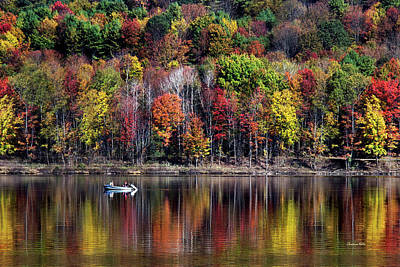 Fall Foliage New York Wall Art - Photograph - Vanishing Autumn Reflection Landscape by Christina Rollo