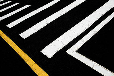 Photograph - Vanishing Traffic Lines With Colorful Edge by Gary Slawsky