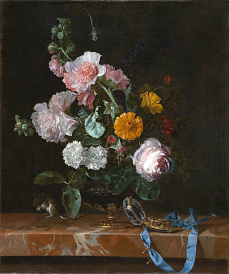 Willem Van Aelst Painting - Vanitas Flower Still Life by Willem van Aelst