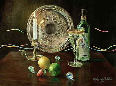 Painting - Vanitas Still Life By Candlelight With Les Bourgeois Wine by Carolyn Coffey Wallace