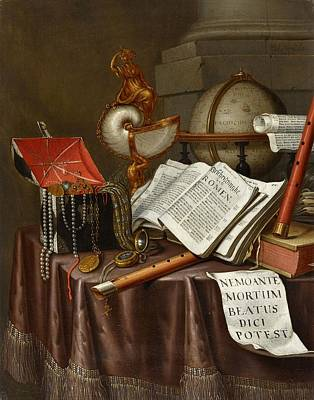 Collier Painting - Vanitas Still Life With Books by MotionAge Designs