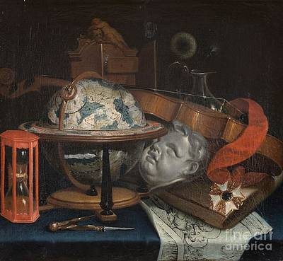 Globe Painting - Vanitas Still Life With Globe by MotionAge Designs
