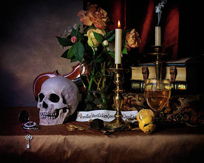 Photograph - Vanitas With Books-candles-roemers-bouquet by Levin Rodriguez