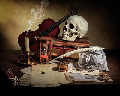 Photograph - Vanitas With Books - Violin - Kalf by Levin Rodriguez