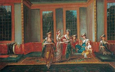 Women Painting - Vanmour Women Drinking by Jean Baptiste