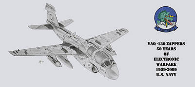 Prowler Drawing - Vaq-130 Zappers 50 Years by Nicholas Linehan