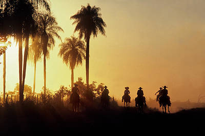 Vaqueros Return After Putting Cattle Art Print by O. Louis Mazzatenta