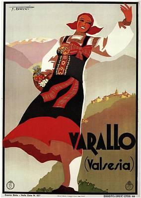 Mixed Media - Varallo, Valsesia, Italy - Woman In Traditional Dress - Retro Travel Poster - Vintage Poster by Studio Grafiikka