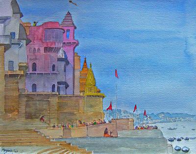 Ganga Painting - Varanasi Ghats by Mayank M M Reid