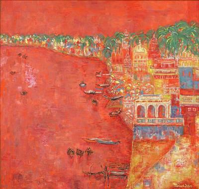 Wall Art - Painting - Varanasi by Marcela Levinska