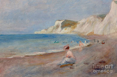 People On The Beach Painting - Varengeville Beach by Pierre Auguste Renoir