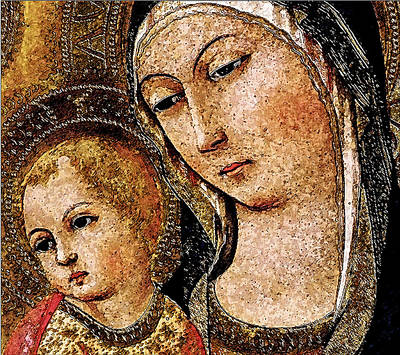 Variation Of The Madonna And Child With Saints And Angels By Sano Di Pietro Art Print