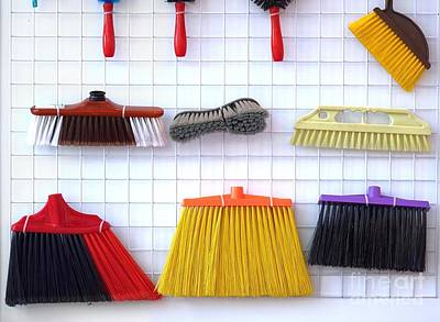 Photograph - Various Brooms And Brushes by Yali Shi