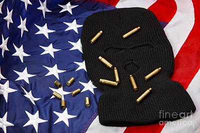 Balaclava Photograph - Various Empty Shell Casings Lying On Balaclava And United States Of America Flag by Joe Fox