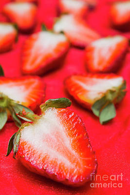 Food And Beverage Royalty-Free and Rights-Managed Images - Various sliced strawberries close up by Jorgo Photography - Wall Art Gallery