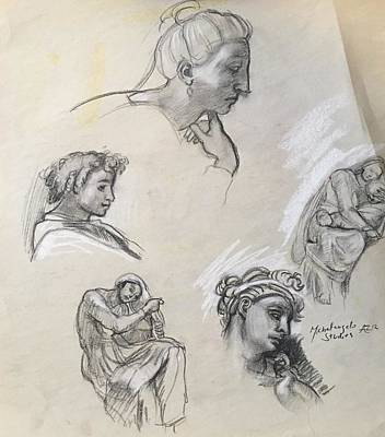 Drawing - Various Studies After Michelangelo by Alejandro Lopez-Tasso
