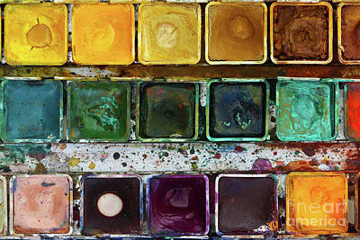 Various Watercolor Pigments In The Color-saucer Art Print by Michal Boubin